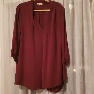 Red chiffon tunic blouse